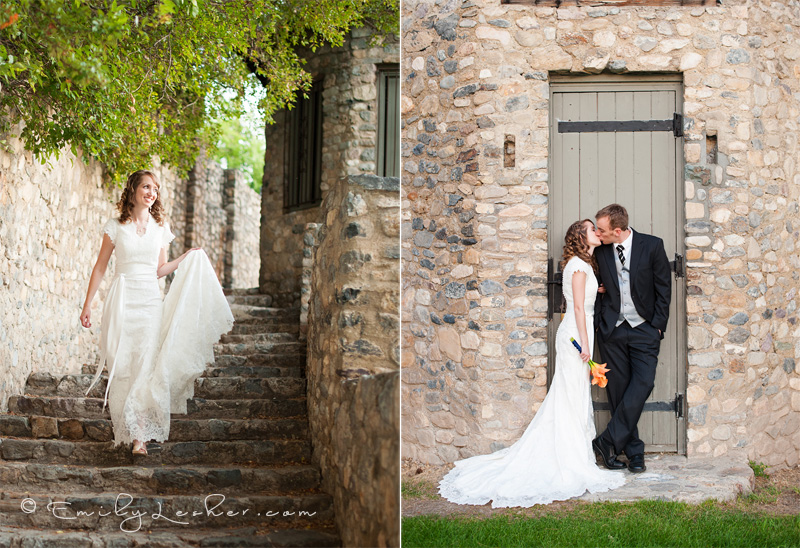 Bride and groom at the Castle in Provo