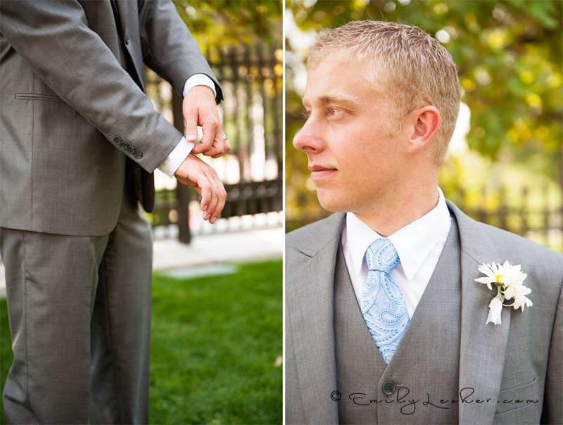 groom looking off, groom fixing cuff,
