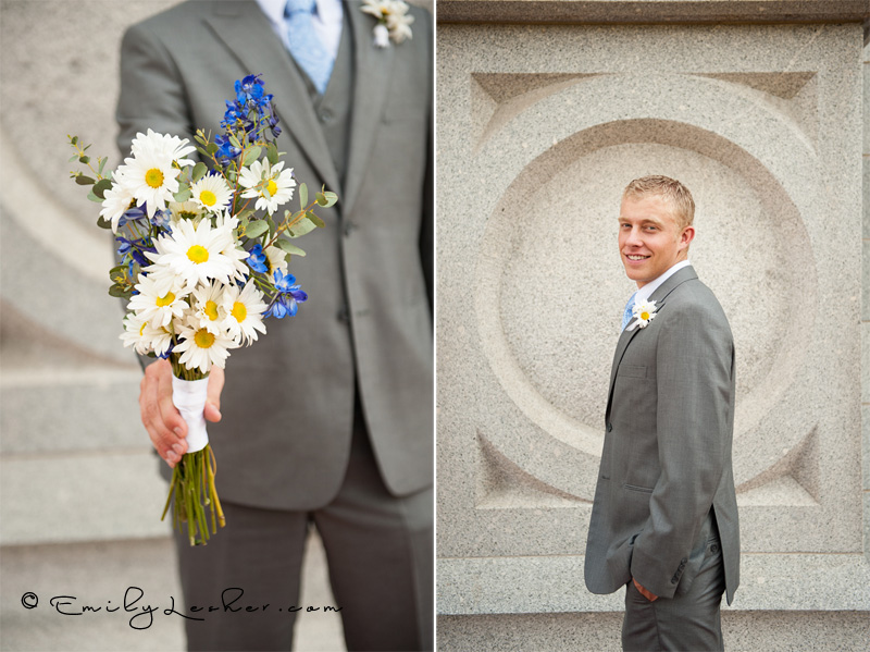 groom in grey suit, groom holding flowers, wild glowers, daisys