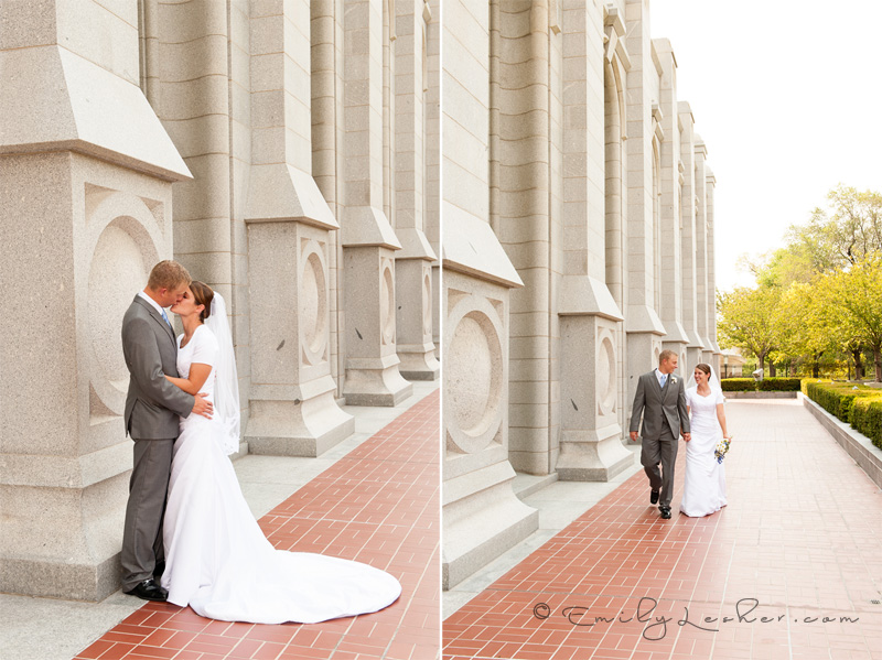 bride and groom kissing, bride and groom walking, salt lake temple