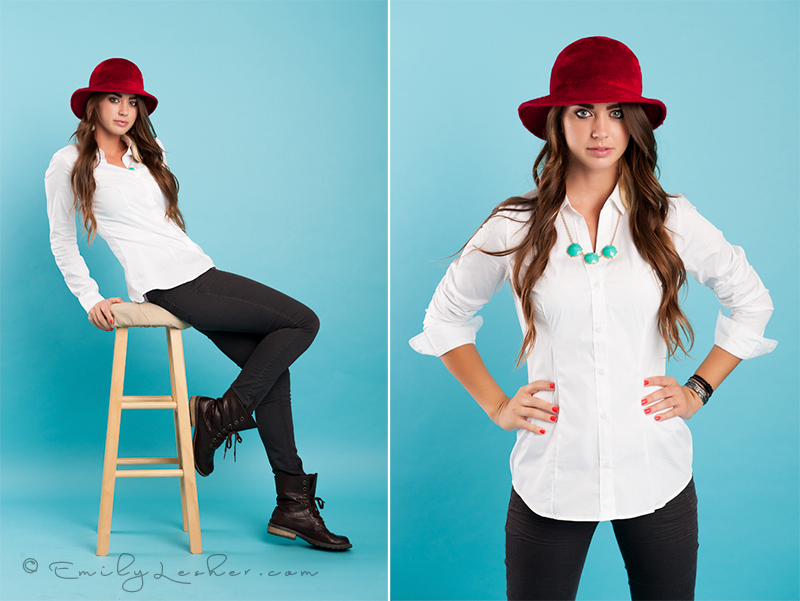 red hat, model in studio, brown haired model, long hair, fashion, fashion photography