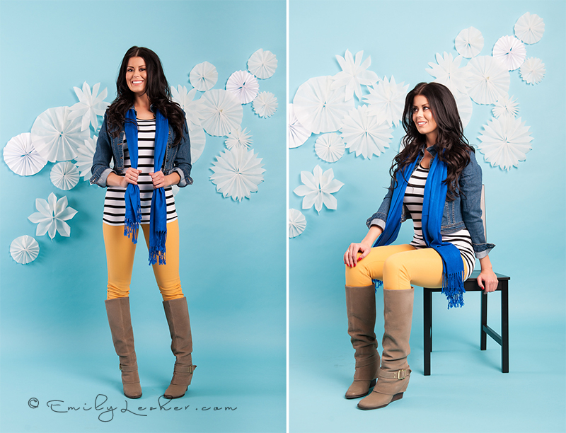 yellow skinny jeans, denim shirt, blue scarf, black and white striped shirt, blue back drop, winter set, brown haired model