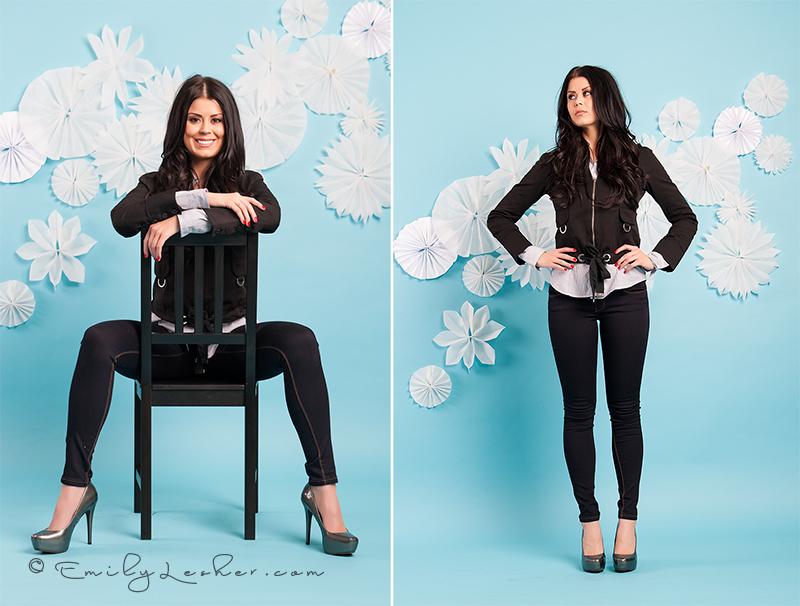 black jacket, blue backdrop, skinny jeans