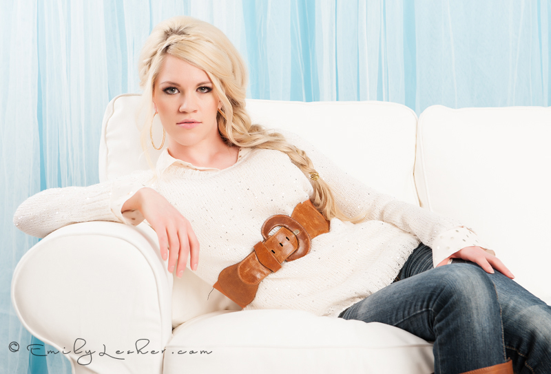 brown chunky belt, Julie Ryan, Make up artist, model, model on couch,
