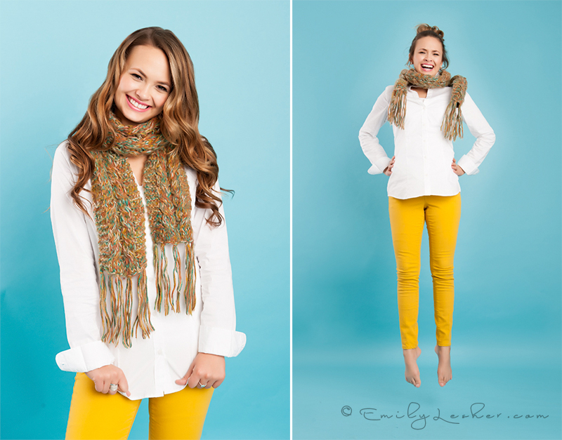 wool scarf, mustard yellow colors, white button down, model jumping, fashion photography