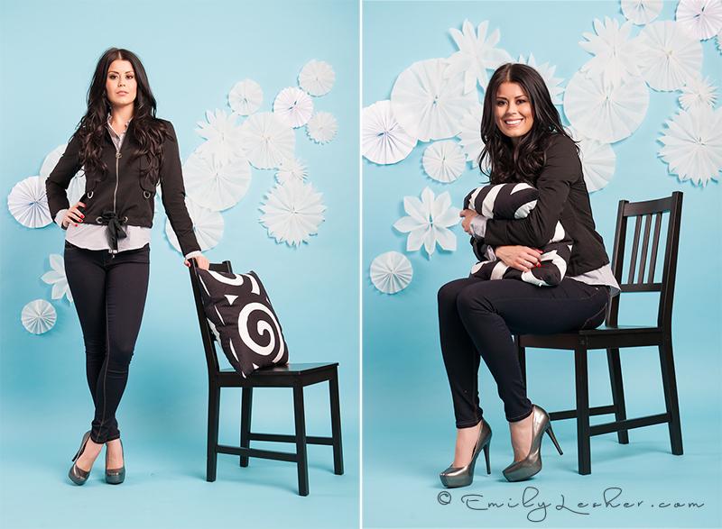 Kendyl Bell, paper flowers, black chair, Ikea pillow