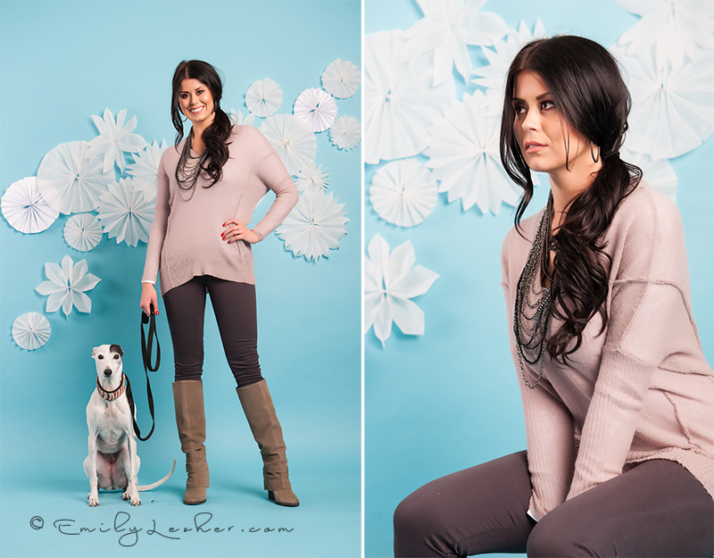 White whippet, parchment snowflakes, blue back drop, pink sweater, sexy modest boutique
