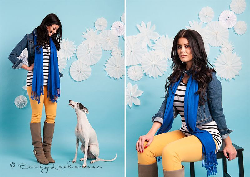 Yellow skinnies, whippet, paper snow flakes, blue seamless backdrop, Miss Utah USA 2012