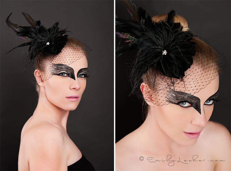 Model, studio, black swan, bird, bird cage veil