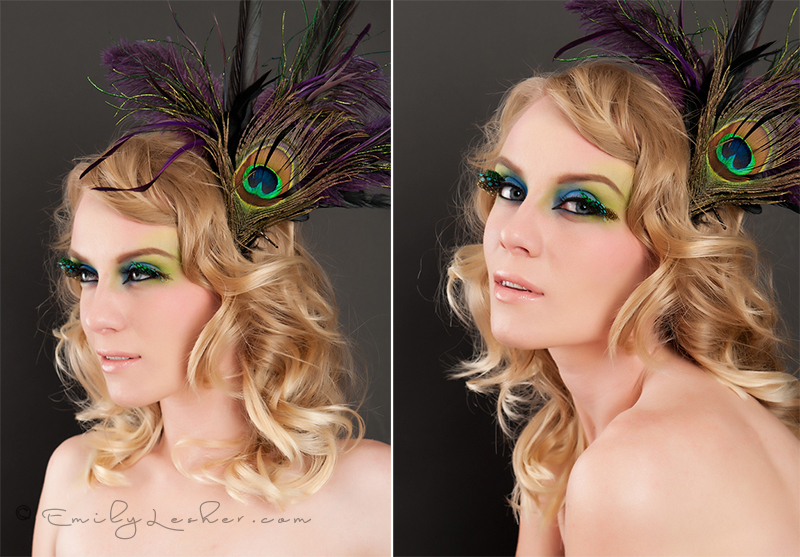 feather eyelashes, yellow, green, blue, colorful eye makeup, peacock feathers, peacock