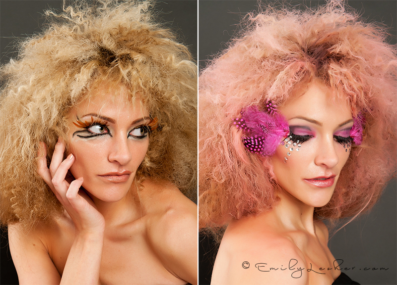 lion makeup, pink flamingo makeup, feathers, pink, brown
