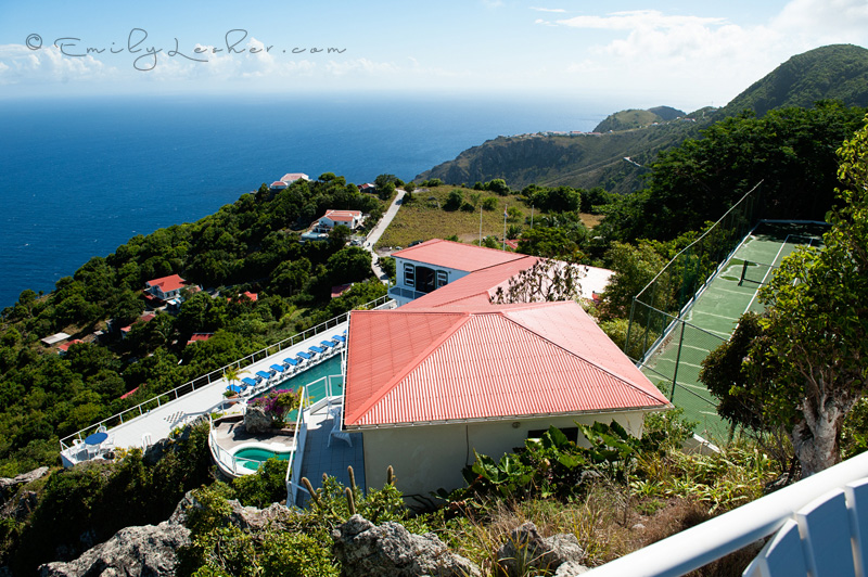 Shearwater Resort, Saba, Caribbean, Tennis courts, red roofs, ocean, mountains