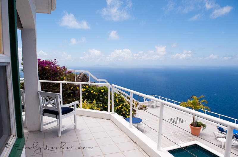 View of the island of Statia as seen from Saba, View of ocean, balcony, deck