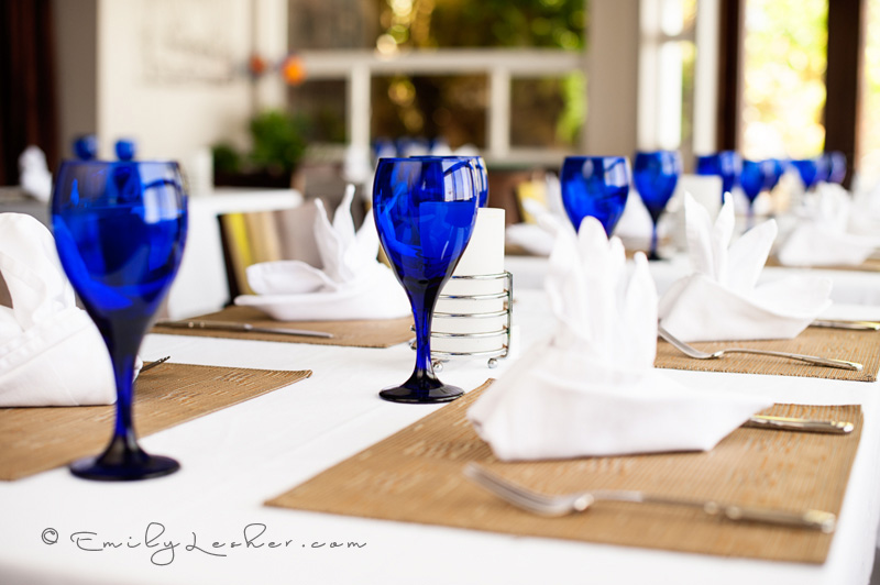 Place settings, blue goblets, Shearwater Resort