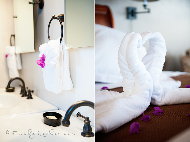 white towels, bathroom towels, caribbean bathroom, towels folded like a swan