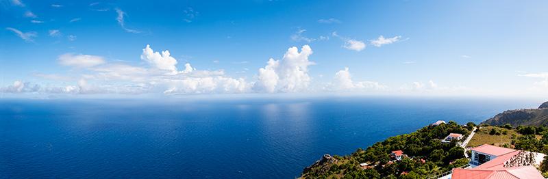 Caribbean, panoramic, blue water, mountains, Saba, View of ocean