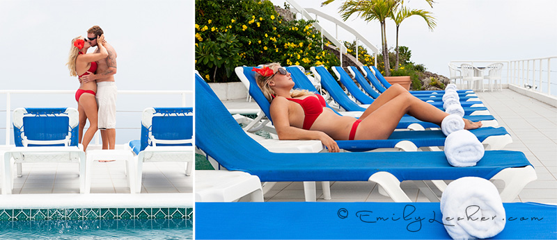 Couple kissing on by the pool, red bikini, blue pool chairs, Caribbean Photographer