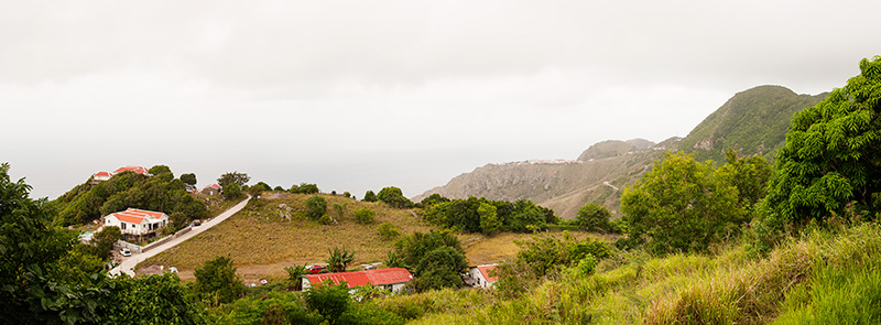 Saba, mountains, houses, Caribbean, cloudy skies