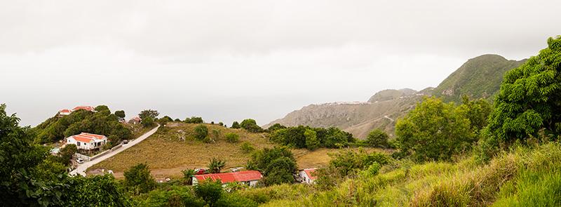 Saba, mountains, houses, Caribbean, cloudy skies