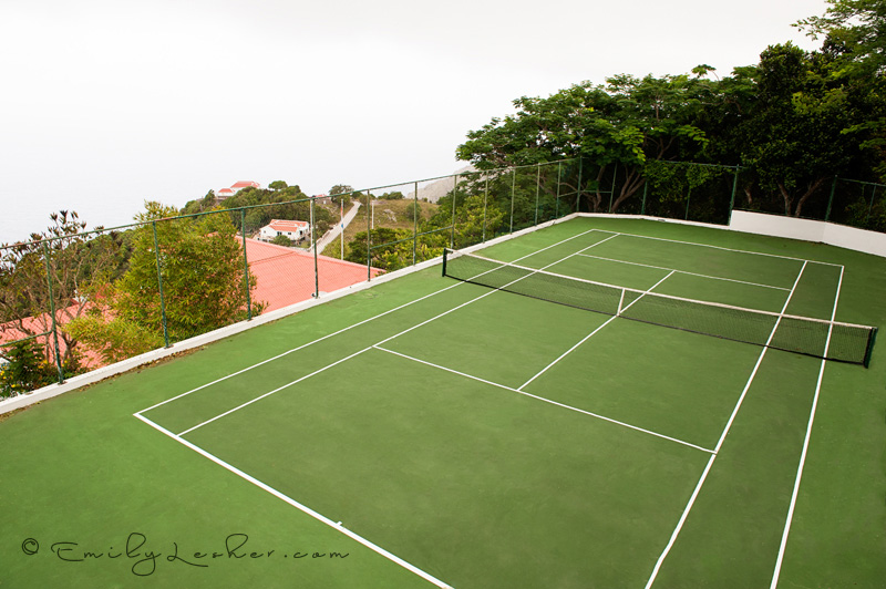Shearwater Resort Tennis Court, green, tennis court overlooking the ocean, Dutch West Indies, Saba