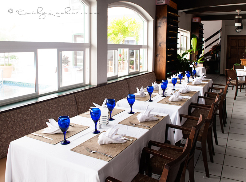 dining room, blue goblets, natural light, Caribbean, Dutch West Indies