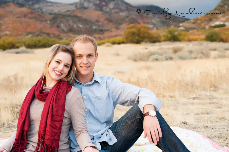 grassy field, engaged couple, field, utah mountains, utah colors, red scarf, Utah photographer
