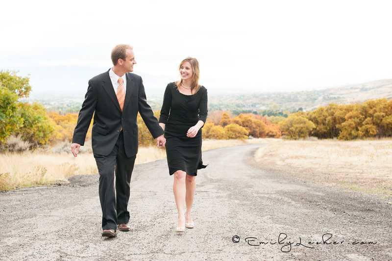 mountain road, couple walking on mountain road, couple laughing, black dress, black suit