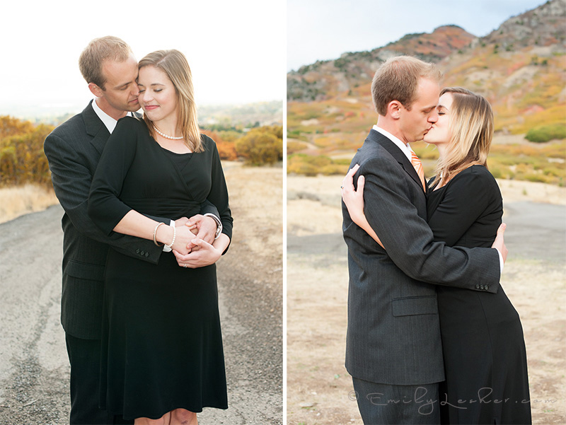 utah engaged couple kissing, nuzzling, utah mountains