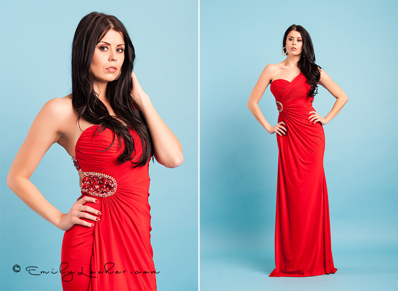 red dress, red sequins, strapless dress, blue back drop, baby blue seamless backdrop