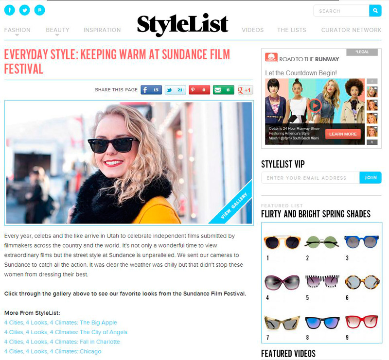 StyleList, StyleList blog, Fashion, Street fashion, Sundance Film Festival, Yellow coat, Sunglasses, blonde model