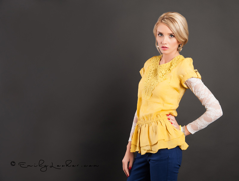Yellow top, lace trim around neckline, white lace long sleeved undershirt, blonde model, Teresa Peterson, Bella Ella Store,