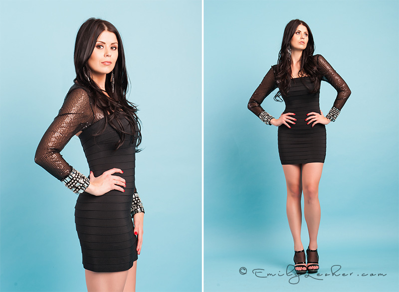 Little black dress, shear long sleeves, rhinestones on cuffs, elegant dress, formal black dress, Kendyl Bell, Emily Lesher Photography