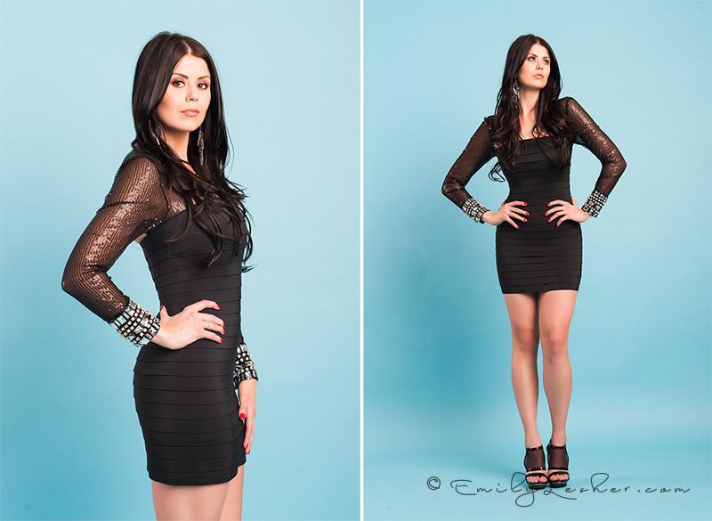 Little black dress, shear long sleeves, rhinestones on cuffs, elegant dress, formal black dress, Kendyl Bell, Emily Lesher Photography