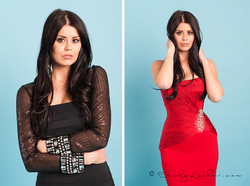 Kardashian hair, black hair, dark brown hair, black cocktail dress, rhinestones on cuffs, Emily Lesher Photographer