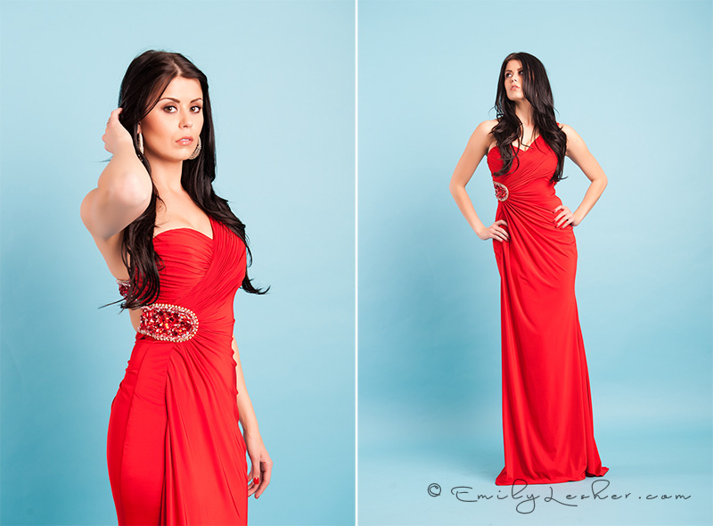 Evening wear, red dress, brunette model, miss usa