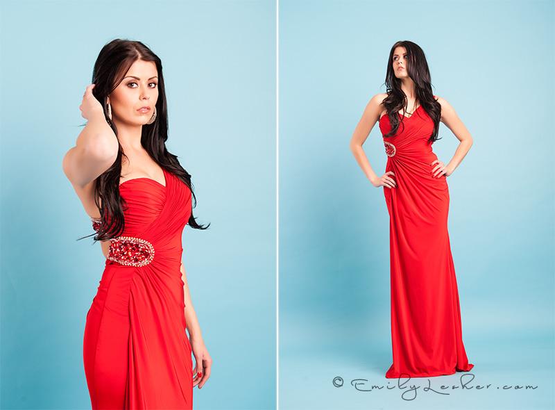 Evening wear, red dress, brunette model, miss usa