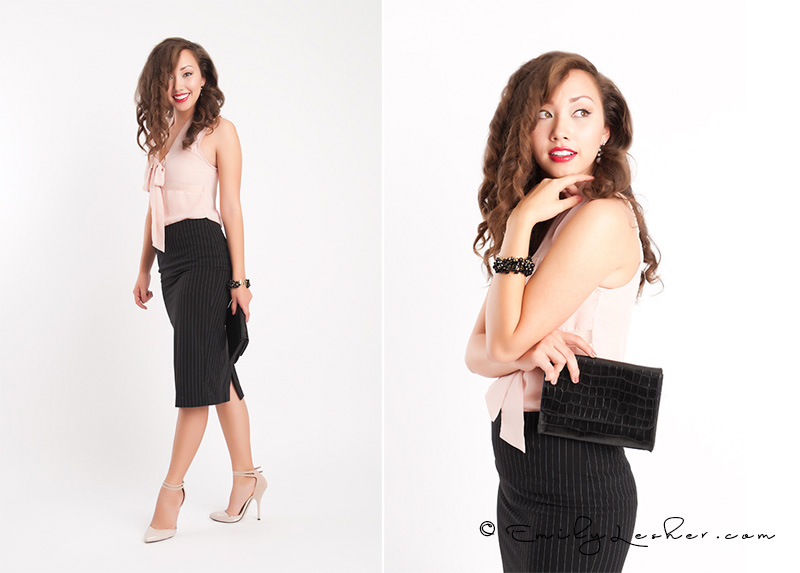 black pencil skirt, blush blouse, Hmong model, Katherine Ellis