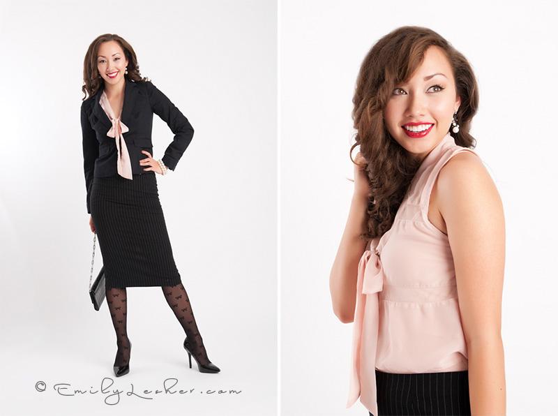 Black business suit, Hmong model, Asian model, Emily Lesher Photographer