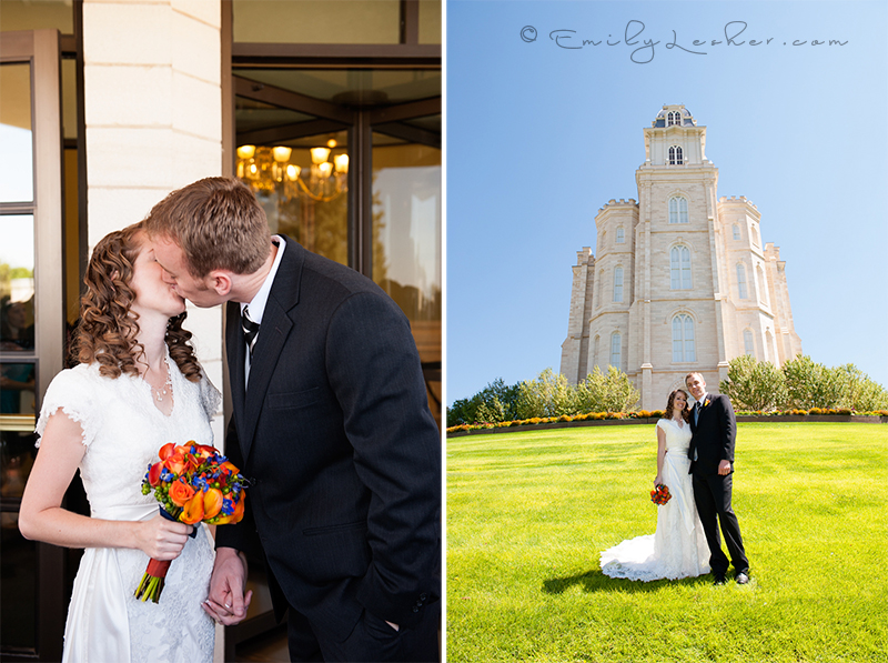 Kissing bride and groom, Manti Temple, summer wedding, blue sky
