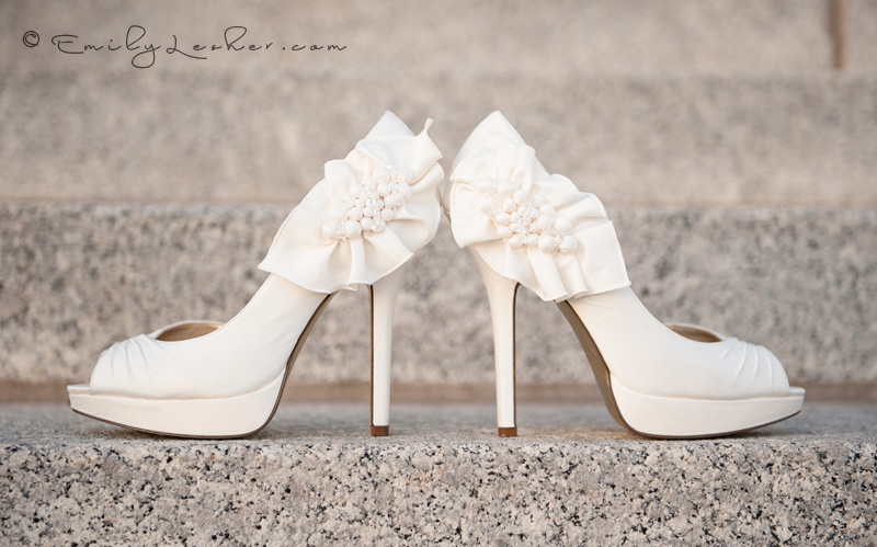 ivory wedding shoes, shoes, high heels, heels with flowers, wedding shoes on steps