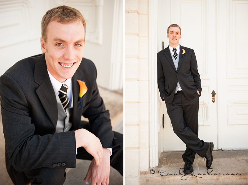 Groom at Manti Temple, groom standing on steps, suit, orange orchid 