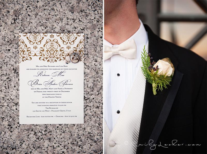 Wedding invitation, wedding rings, boutineer,