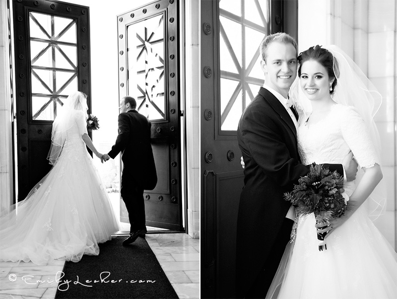 black and white image, Utah State Capitol doors, bride and groom walking out the doors, bridal pictures