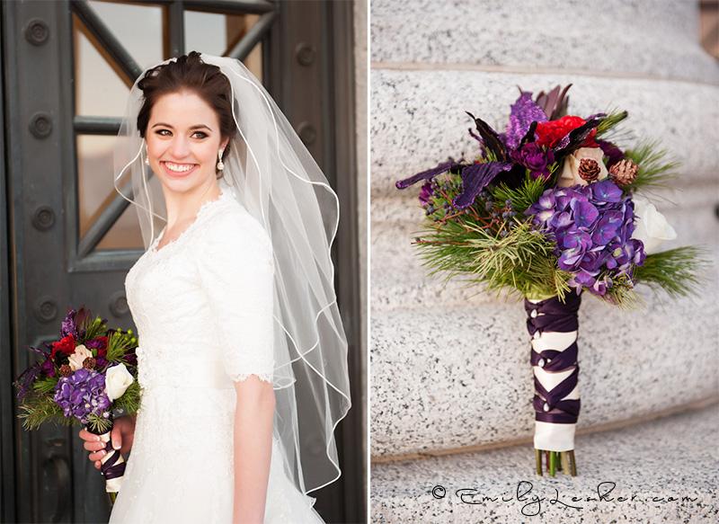winter wedding bouquet, evergreen in wedding bouquet