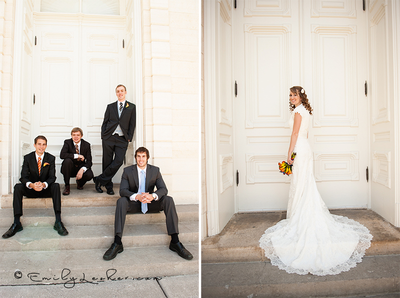 groomsmen on steps, Manti Temple, bride on steps, bride at Manti Temple, bride in lace gown