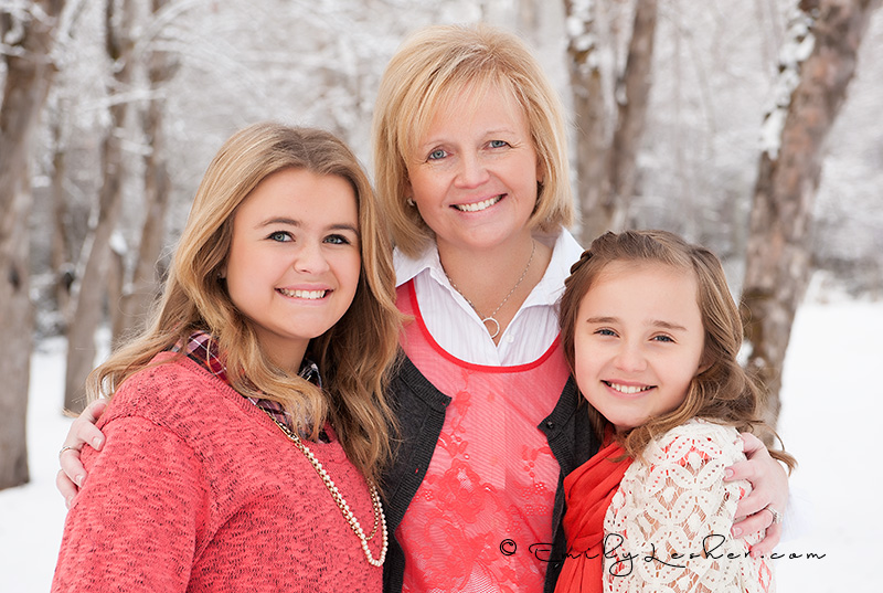Sharon Briggs and her girls, mom and girls, family shoot, cold, snow, trees, orchard, 