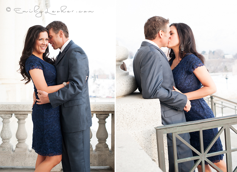 Couple kissing at the Utah state Capitol building