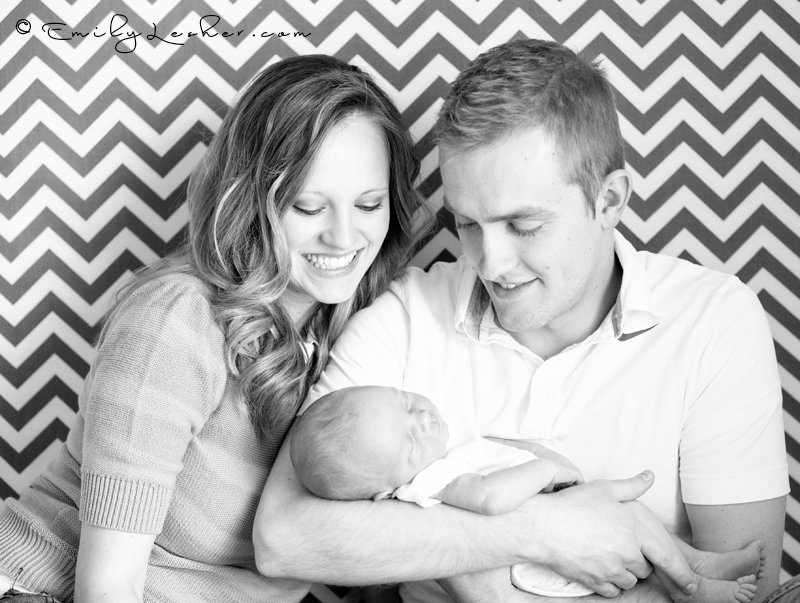 Family picture, chevron backdrop, young family, family with newborn, baby girl